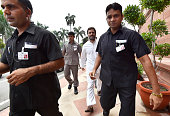 Congress Vice President Rahul Gandhi arrives at the opening day of the Monsoon Session of the Parliament on July 18 2016 in New Delhi India A total...