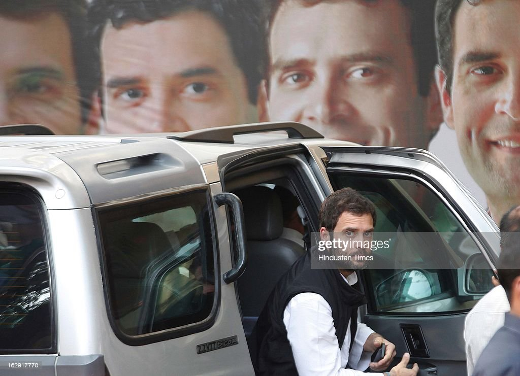 Congress Vice President Rahul Gandhi arrives at Tilak Bhavan to meet party workers on March 1, 2013 in Mumbai, India. He is visiting Mumbai for the first time after he took over as Congress vice president.