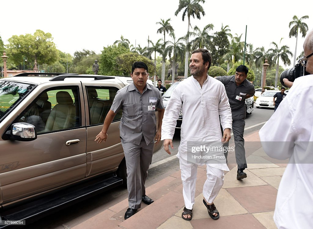 Congress Vice President Rahul Gandhi arrives for the Parliament Session at Parliament on May 3, 2016 in New Delhi, India. With the BJP mounting an offensive against Congress vice-president on the AgustaWestland VVIP chopper bribery case, Rahul Gandhi on Wednesday said he is happy to be targeted.