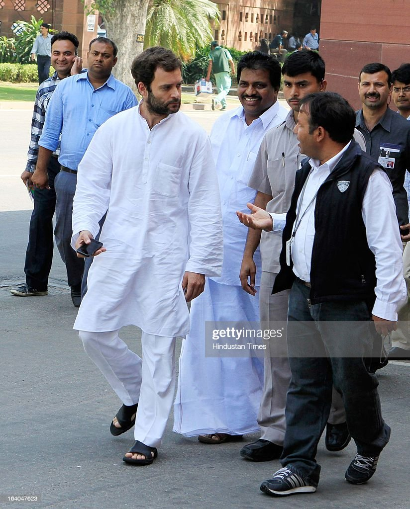 Congress Vice President Rahul Gandhi at Parliament house during the on going budget session in New Delhi on Tuesday, March 19, 2013, as DMK withdrew its support to the UPA and pulled out its five central ministers over the issue of alleged human rights violations of Tamils in Sri Lanka. The DMK has 18 Lok Sabha MPs and six Rajya Sabha MPs and was the second largest constituent of the Government. With the DMK pullout, the strength of the UPA in the Lok Sabha will be reduced to 224 but with outside support of SP (22) and BSP (21) it enjoyed the support of 281 MPs above the half way mark of 270.