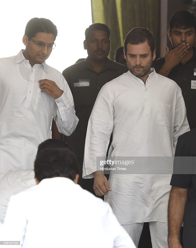 Congress Vice President Rahul Gandhi at Parliament House during parliament session on May 4, 2016 in New Delhi, India. Congress walks out of the House demanding time-bound Supreme Court-monitored CBI probe on the AgustaWestland helicopter deal.