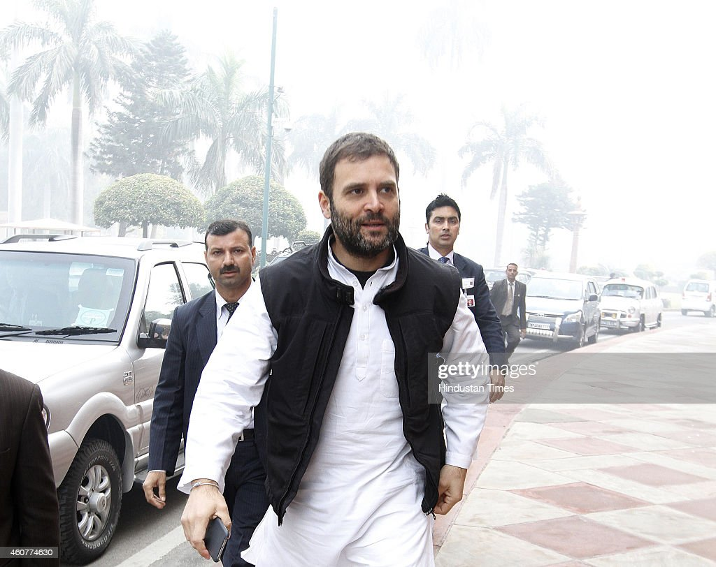 Congress Vice President <a gi-track='captionPersonalityLinkClicked' href=/galleries/search?phrase=Rahul+Gandhi&family=editorial&specificpeople=171802 ng-click='$event.stopPropagation()'>Rahul Gandhi</a> at the Parliament House complex on December 22, 2014 in New Delhi, India. The conversion heat, which has been paralysing Rajya Sabha since last week, today reached the Lok Sabha with opposition trying to corner the government which asserted that neither it nor BJP has anything to do with conversions.