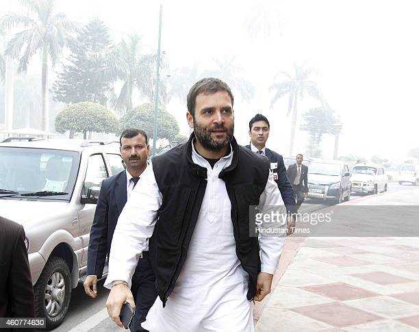 Congress Vice President Rahul Gandhi at the Parliament House complex on December 22 2014 in New Delhi India The conversion heat which has been...
