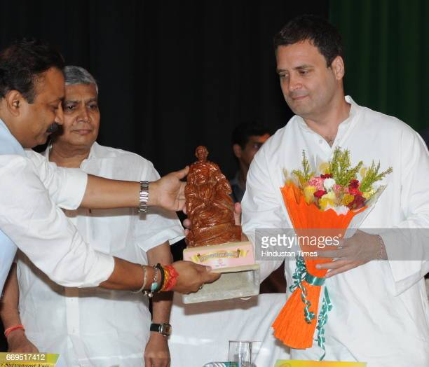 Congress Vice President Rahul Gandhi being felicitated during the centenary celebration of Champaran Satyagrah on April 17 2017 in Patna India The...