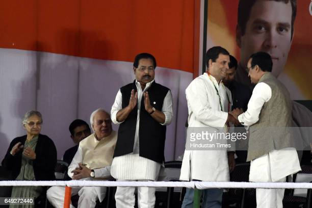 Congress Vice President Rahul Gandhi being welcomed by DPCC president Ajay Makan as senior congress leader P C Chako Kapil Sibal and Sheila Dikshit...
