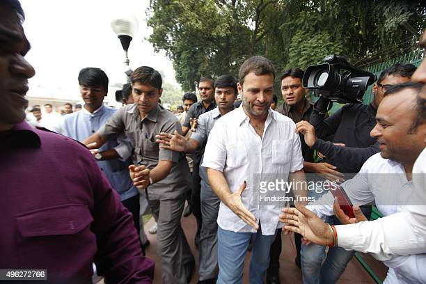 Congress Vice President Rahul Gandhi celebrates after Mahagathbandhan's victory in Bihar assembly elections during a press conference after the...
