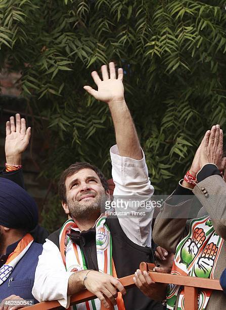 Congress Vice President Rahul Gandhi during a roadshow at Kalkaji Extention ahead of the upcoming Delhi Assembly Elections on January 27 2015 in New...