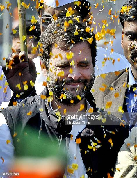 Congress Vice President Rahul Gandhi during an election campaign road show in support of party candidate Jai Kishan from Sultanpur Majra Delhi...