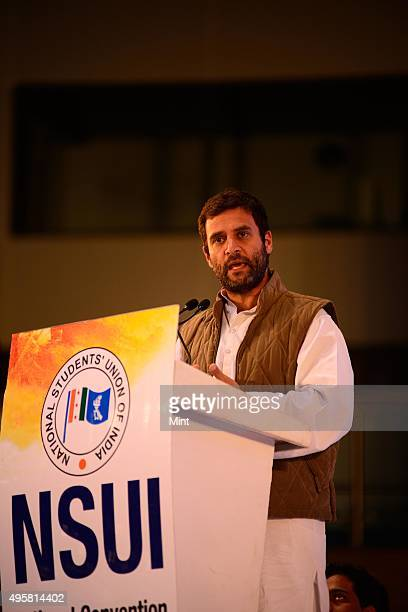 Congress Vice President Rahul Gandhi during national convention Udaan of NSUI at Talkatora Stadium on March 7 2014 in New Delhi India Addressing a...