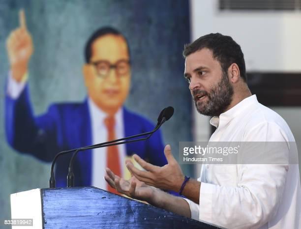 Congress Vice President Rahul Gandhi during 'Sajhi Birasat Bachao Sammelan' called by JD leader Sharad Yadav at Constitution Club on August 17 2017...