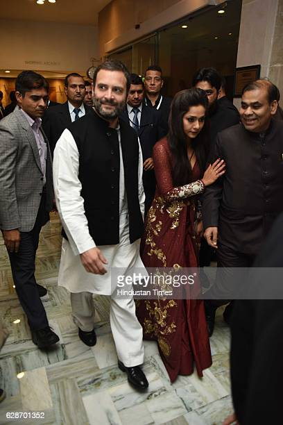 Congress Vice President Rahul Gandhi during the wedding reception of Indian Cricketer Yuvraj Singh and Bollywood actor Hazel Keech at ITC Maurya on...
