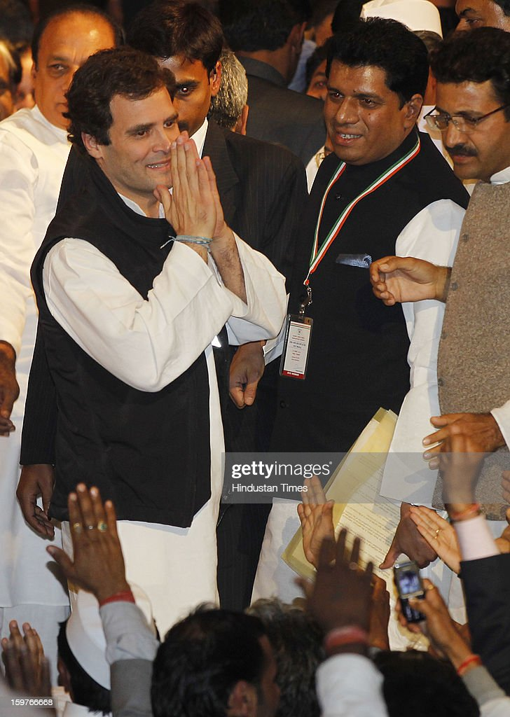 Congress Vice President Rahul Gandhi greets by the delegates after the AICC meeting after the two days 'Chintan Shivir' at Birla Auditorium, Jaipur on January 20, 2013 in Rajasthan, India.