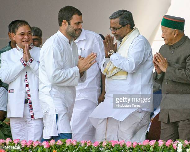 Congress Vice President Rahul Gandhi greets Karnataka Chief Minister Siddaramaiah as Arunachal Pradesh Chief Minister Nabam Tuki and Himachal Pradesh...