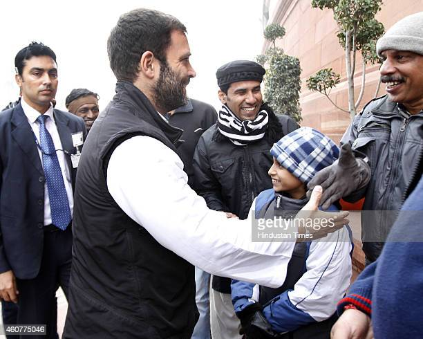 Congress Vice President Rahul Gandhi greets visitors at the Parliament House complex on December 22 2014 in New Delhi India The conversion heat which...