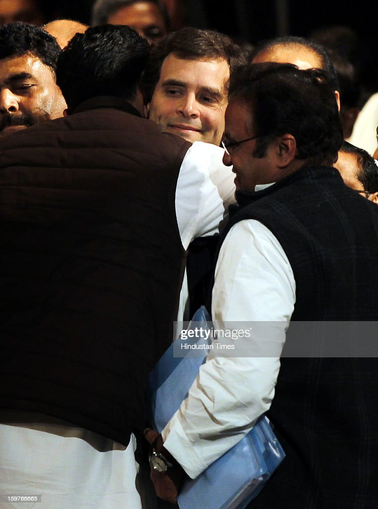 Congress Vice President Rahul Gandhi hugs by the Sachin Pilot after the AICC meeting after the two days 'Chintan Shivir' at Birla Auditorium, Jaipur on January 20, 2013 in Rajasthan, India.