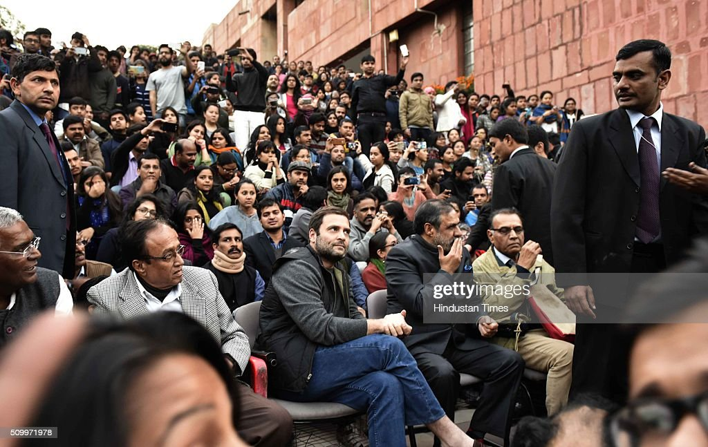 Congress Vice President Rahul Gandhi joins the ongoing protest of JNU students over the release of JNU Student's Union president Kanhaiya Kumar at Jawaharlal Nehru University, on February 13, 2016 in New Delhi, India. Gandhi slammed the Centre and said it is terrified of people who are raising their voices. He said, the most anti-national people are the people who are suppressing the voice of this institution. JNU Student's Union president Kanhaiya Kumar was arrested in connection with a case of sedition, seven more students from the university have been detained after a controversial event to protest the hanging of 2001 Parliament attack convict Afzal Guru three years ago. The protesters also allegedly shouted anti-India slogans during the event.