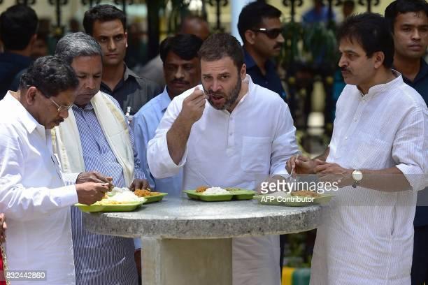 Congress Vice President Rahul Gandhi Karnataka Chief Minister Siddaramaiah state minister G Parameshwara and senior Congress leader incharge of...