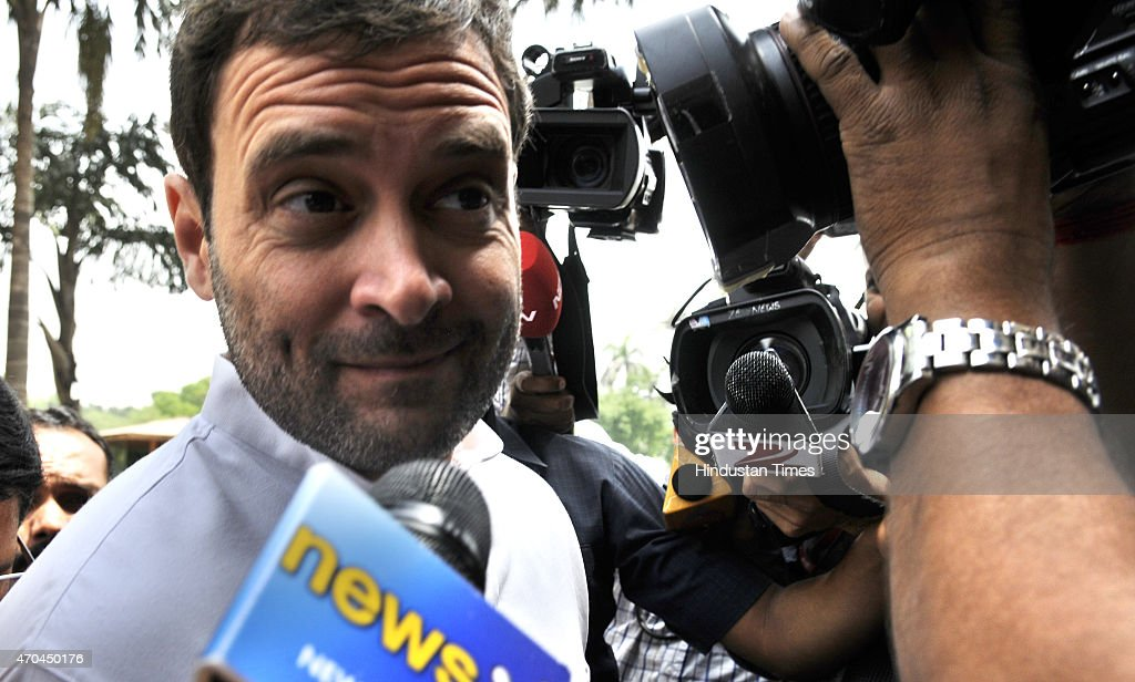 Congress Vice President <a gi-track='captionPersonalityLinkClicked' href=/galleries/search?phrase=Rahul+Gandhi&family=editorial&specificpeople=171802 ng-click='$event.stopPropagation()'>Rahul Gandhi</a> leaves Parliament after attending second phase of Budget Session on April 20, 2015 in New Delhi, India. Congress leader <a gi-track='captionPersonalityLinkClicked' href=/galleries/search?phrase=Rahul+Gandhi&family=editorial&specificpeople=171802 ng-click='$event.stopPropagation()'>Rahul Gandhi</a> today sharpened his attack on Prime Minister Narendra Modi, accusing his suit-boot government of being pro-industrialists while ignoring the plight of farmers and farm labour.