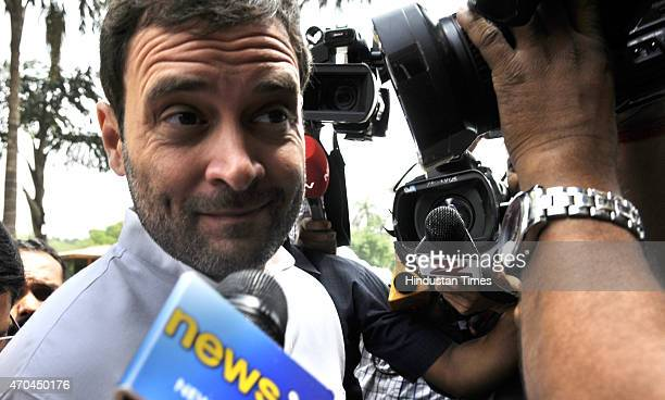 Congress Vice President Rahul Gandhi leaves Parliament after attending second phase of Budget Session on April 20 2015 in New Delhi India Congress...