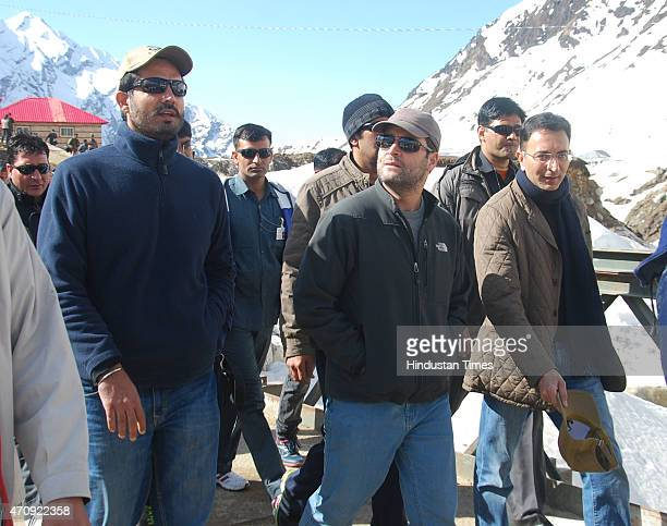 Congress Vice President Rahul Gandhi on his way to Kedarnath shrine on April 24 2015 at Kedarnath India Gandhi along with Uttarakhand Chief Minister...