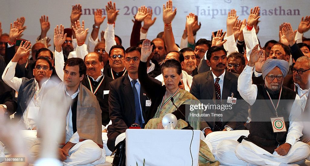 Congress Vice President Rahul Gandhi, Prime Minister Manmohan Singh and congress President Sonia Gandhi with party leaders during the AICC meeting after the two days 'Chintan Shivir' at Birla Auditorium, Jaipur on January 20, 2013 in Rajasthan, India.