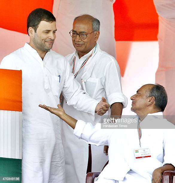 Congress Vice President Rahul Gandhi Senior leaders AK Antony and Digvijay Singh during the farmers rally to galvanise protests against National...