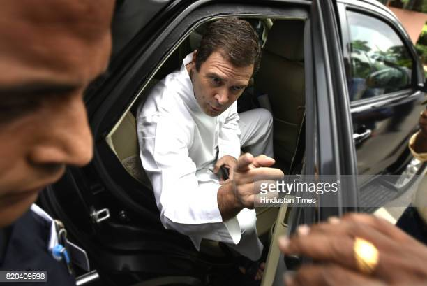 Congress Party Vice President Rahul Gandhi speaks to the media after attending the parliament House on July 21 2017 in New Delhi India
