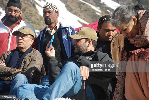 Congress Vice President Rahul Gandhi taking a selfie during his visit at Kedarnath shrine on April 24 2015 at Kedarnath India Gandhi along with...