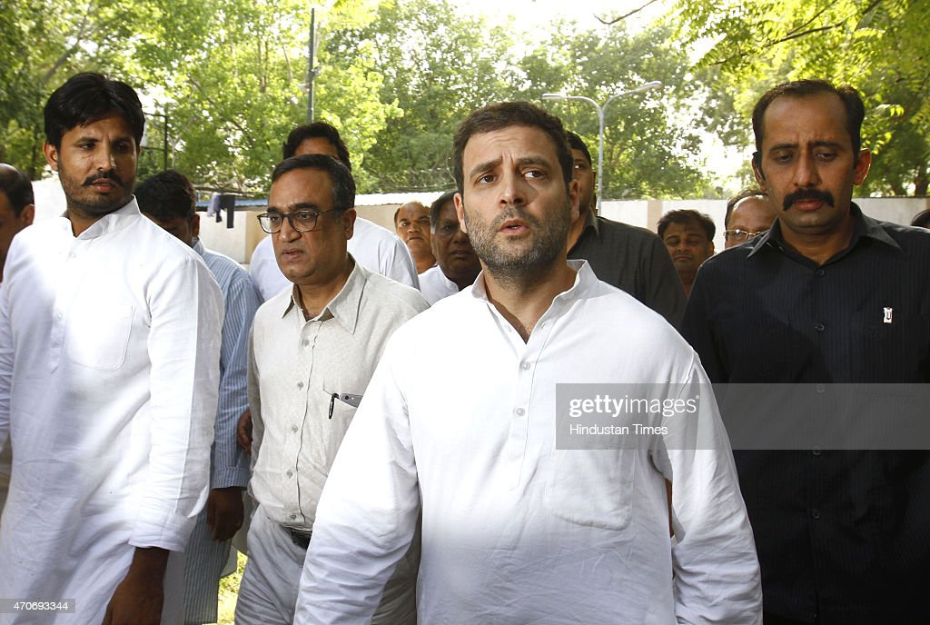 Congress Vice President <a gi-track='captionPersonalityLinkClicked' href=/galleries/search?phrase=Rahul+Gandhi&family=editorial&specificpeople=171802 ng-click='$event.stopPropagation()'>Rahul Gandhi</a> visits Sucheta Kriplani Hospital where the body of a farmer Ganjender Singh was kept on April 22, 2015 in New Delhi, India. Gajendra Singh, a farmer from Dausa in Rajasthan, committed suicide by hanging himself from a tree in full public view in the presence of Delhi Chief Minister Arvind Kejriwal at an Aam Aadmi party rally against the land ordinance.