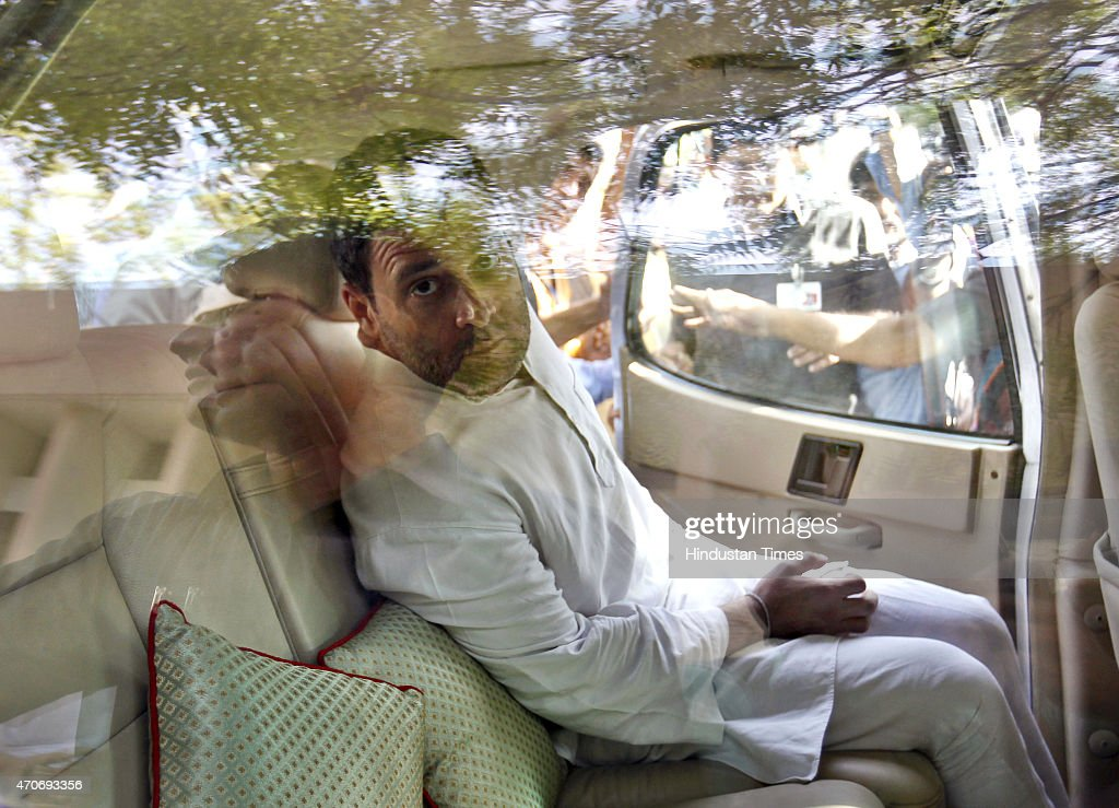 Congress Vice President Rahul Gandhi visits Sucheta Kriplani Hospital where the body of a farmer Ganjender Singh was kept on April 22, 2015 in New Delhi, India. Gajendra Singh, a farmer from Dausa in Rajasthan, committed suicide by hanging himself from a tree in full public view in the presence of Delhi Chief Minister Arvind Kejriwal at an Aam Aadmi party rally against the land ordinance.