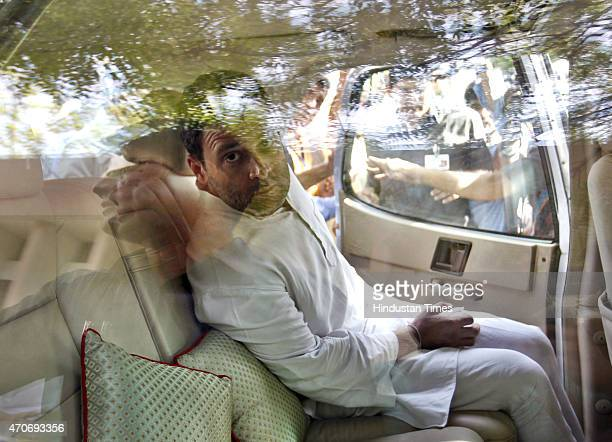 Congress Vice President Rahul Gandhi visits Sucheta Kriplani Hospital where the body of a farmer Ganjender Singh was kept on April 22 2015 in New...