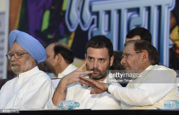Congress Vice President Rahul Gandhi with former Prime Minister Manmohan Singh during 'Sajhi Birasat Bachao Sammelan' called by JD leader Sharad...