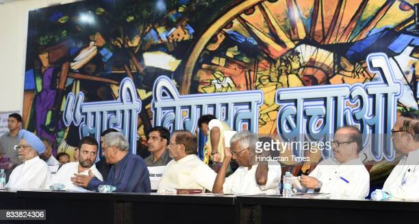 Congress Vice President Rahul Gandhi with former Prime Minister Manmohan Singh Left party leader Sitaram Yechury JD leader Sharad Yadav Left party...