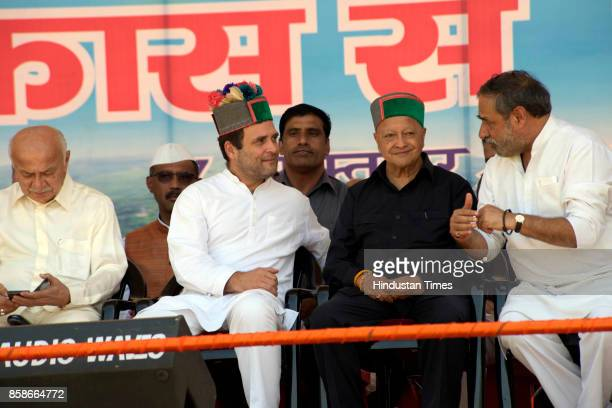 Congress Vice President Rahul Gandhi with Himachal CM Virbhadra Singh during the 'Vikas se Vijay Ki Aur' rally in Mandi of electionbound Himachal...
