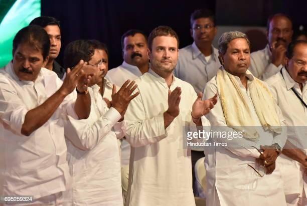 Congress Vice President Rahul Gandhi with Karnataka Chief Minister Siddaramaiah during Congress delegate meeting at Jnana Jyoti Auditorium on June 12...