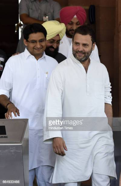 Congress Vice President Rahul Gandhi with other MPs attending the Parliament Budget Session on April 5 2017 in New Delhi India Employees suffering...