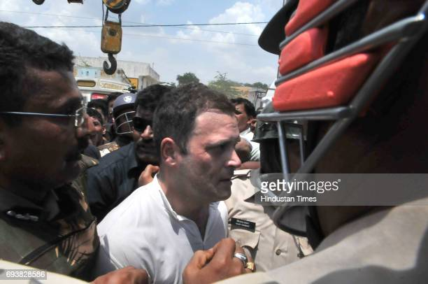 Congress vicepresident Rahul Gandhi along with his supporters was detained while trying to enter Mandsaur district at Naya Gaon on June 8 2017 about...