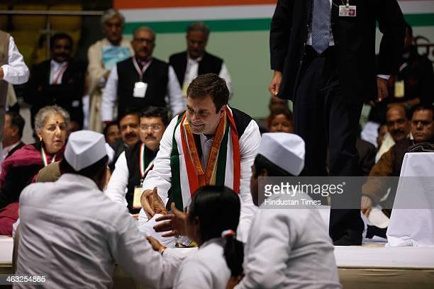Congress VicePresident Rahul Gandhi during All India Congress Committee meet at Talkatora stadium on January 17 2014 in New Delhi India Rahul Gandhi...
