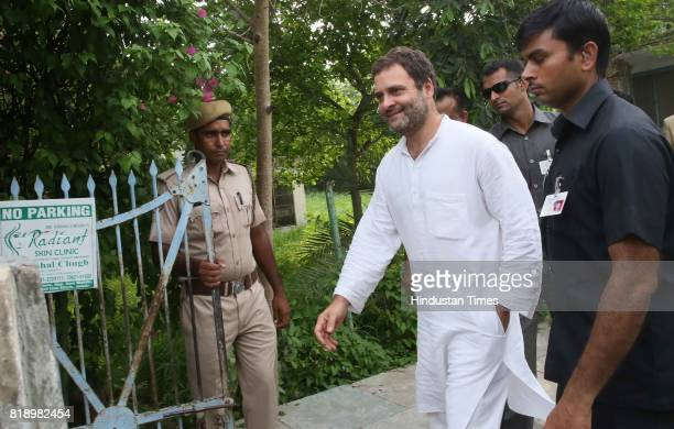 Congress VicePresident Rahul Gandhi leaves after meeting with close family friends Mr and Mrs Katju at their house on July 19 2017 in Jaipur India