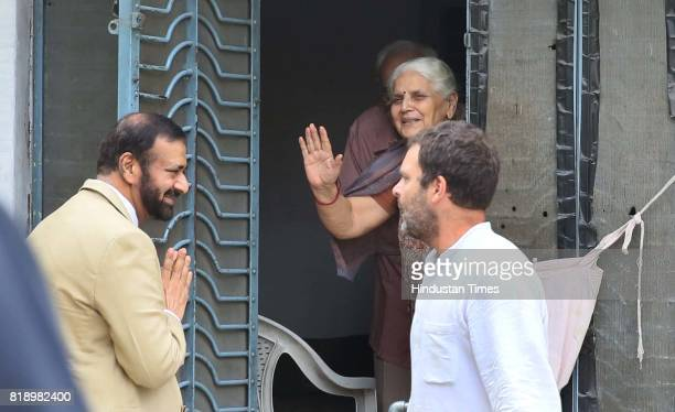 Congress VicePresident Rahul Gandhi meeting with close family friends Mr and Mrs Katju at their house on July 19 2017 in Jaipur India