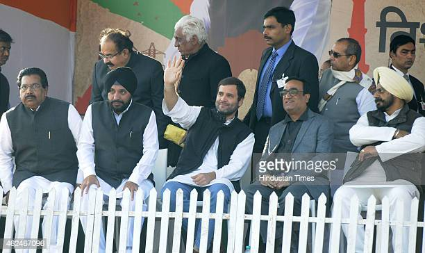 Congress VicePresident Rahul Gandhi with Congress leaders PC Chako Arvinder Singh Lovely and Ajay Maken during an election rally for upcoming Delhi...