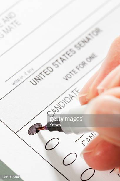 Congress Voting Ballot with Hand Filling In the Vote
