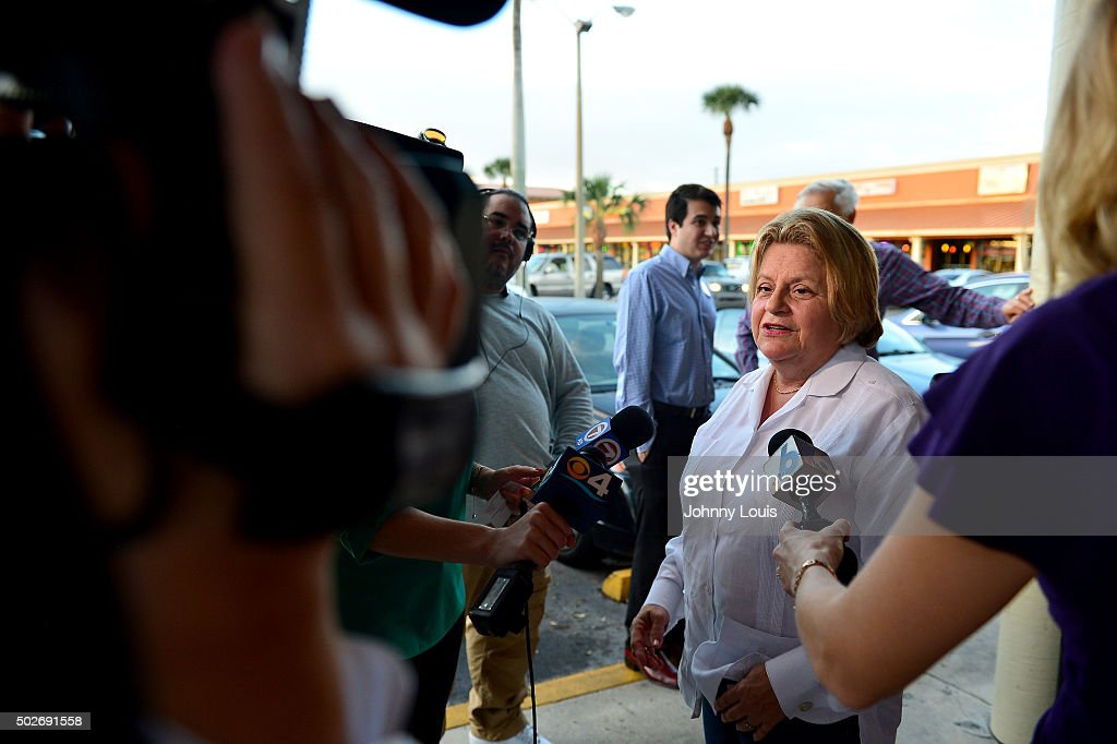 Congress Woman Ileana Ros-Lehtinen attend Republican presidential candidate and former Florida Governor Jeb Bush meet and greet at Chico's Restaurant on December 28, 2015 in Hialeah, Florida.