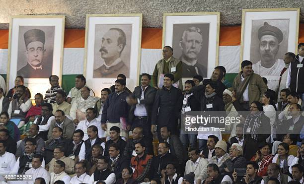 Congress workers demanding to announce Congress Vice president Rahul Gandhi as prime ministerial candidate in the upcoming Lok Sabha election during...