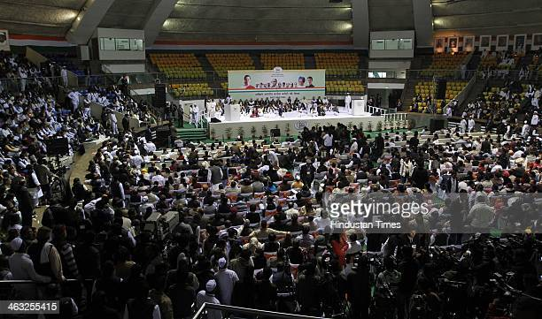 Congress workers during All India Congress Committee meet at Talkatora stadium on January 17 2014 in New Delhi India Rahul Gandhi said that the 2014...
