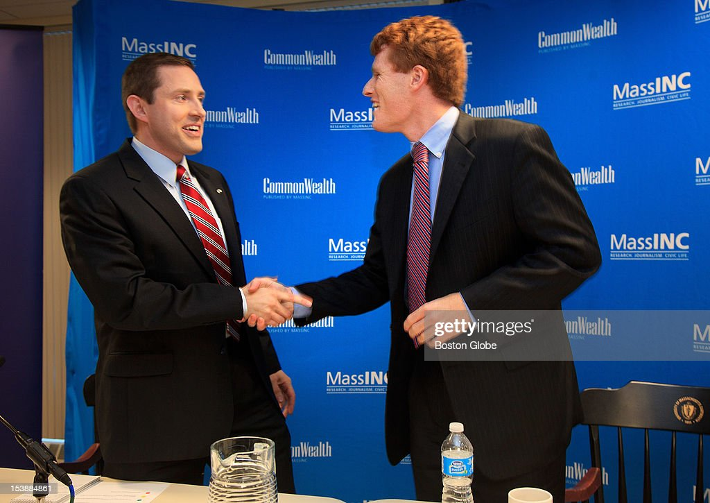 Congressional candidates Joseph Kennedy III, right, and Sean Bielat, left, shook hands after a televised debate at the University of Massachusetts Dartmouth Advanced Technology and Manufacturing Center in Fall River, Mass. on Wednesday afternoon, Oct. 10, 2012.