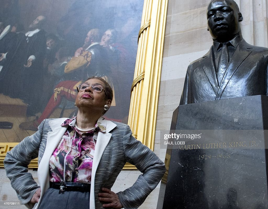 US Congressional Delegate Eleanor Holmes Norton of Washington, DC, speaks with students about Black History Month alongside a statue of Martin Luther King, Jr., during a tour of the Rotunda at the US Capitol in Washington, DC, on February 20, 2014. AFP PHOTO / Saul LOEB