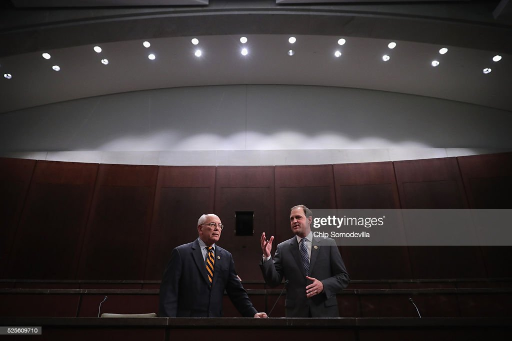 Congressional Horse Caucus members Rep. Paul Tonko (D-NY) (L) and Rep. Andy Barr (R-KY) make brief statements before a hearing in the House Visitors Center at the U.S. Capitol April 28, 2016 in Washington, DC. Tonko and Barr are co-sponsors of the Thoroughbred Horseracing Integrity Act of 2015 which would create a national horseracing anti-doping authority.