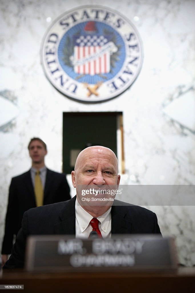 Congressional Joint Ecoomic Committee Chairman Rep. Kevin Brady (R-TX) prepares to begin a hearing on Capitol Hill February 28, 2013 in Washington, DC. This was Brady's first hearing as chairman of the bipartisan and bicameral committee. The committee heard testimony from two former chairmen of the Council of Economic Advisers, Michael Boskin and Austan Goolsbee, who disagreed on the speed of the nation's economic recovery during the hearing, titled 'State of the U.S. Economy.'