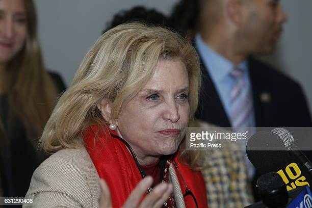 Congressional Representative Carolyn Maloney speaks Congressional Democrats representing New York City gathered at Woodhull Medical Center to demand...